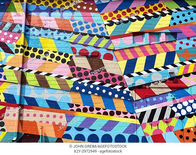 Colorful abstract mural design by street artist Jason Woodside, The Gulch, Nashville, Tennrssee, USA