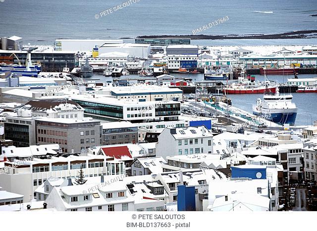 Aerial view of cityscape and ocean, Reykjavik, Hofudborgarsvaedi, Iceland
