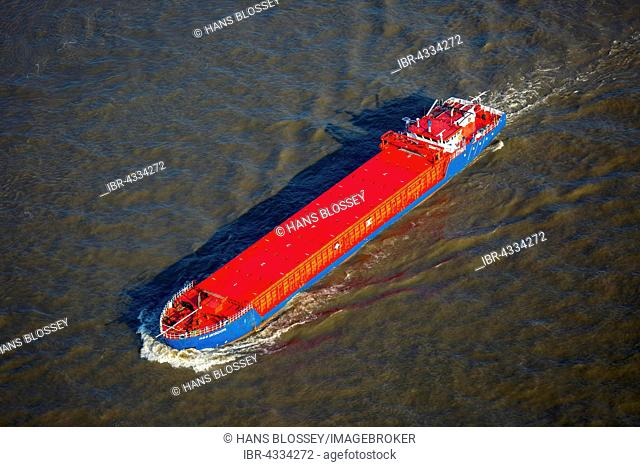 Aerial view, freighter for dangerous goods H&S Wisdom on the Rhine, inland navigation, Niederrhein, North Rhine-Westphalia, Germany