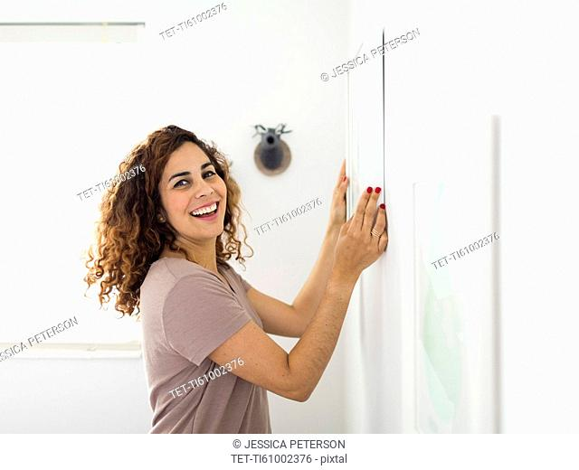 Woman decorating room