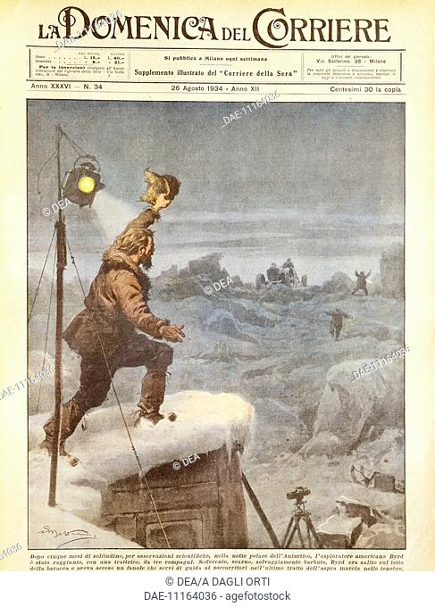 The American explorer, Richard E. Byrd, being joined by companions in the Antarctica after being alone for five months. Illustrator Achille Beltrame (1871-1945)