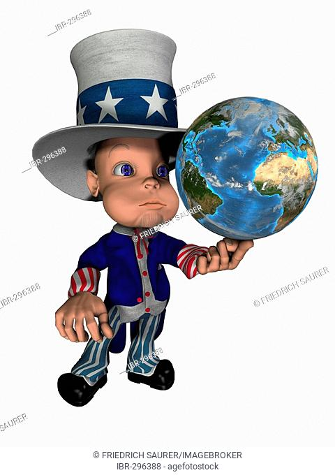 National figure Uncle Sam balances the globe on the finger as symbol for control and the influence of the USA on the world
