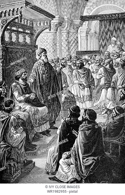 Hugh Capet was crowned as king of France at Rheims Cathedral in A.D. 987. The French Carolingian line had ended with the death of Louis V