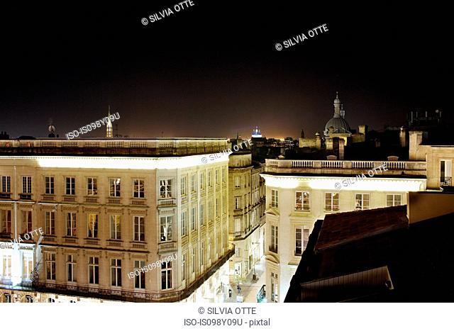 Rooftops at night, Bordeaux, France