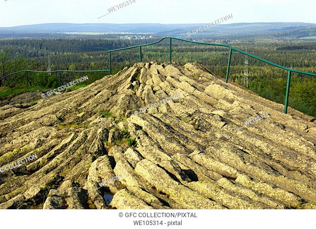 Outcrop of horizontal columnar basalt, geotope Hirtstein, Erzgebirge Ore Mountains, Saxony, Germany