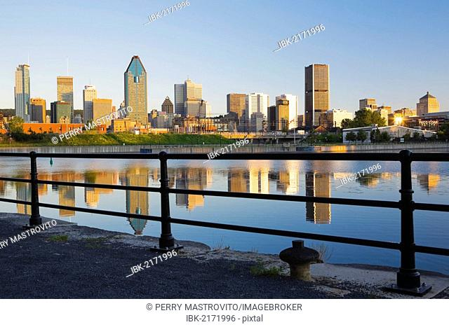 Montreal skyline and Lachine canal at sunrise, Quebec, Canada