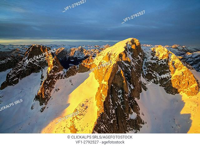 Aerial view of peak Badile and Cengalo at sunset Masino Valley Valtellina Lombardy Italy Europe