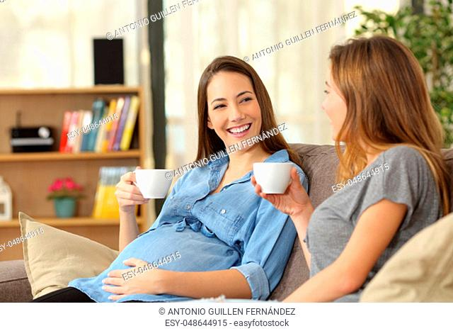 Happy pregnant woman talking with a friend sitting on a couch in the living room at home