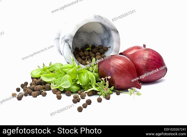 onion, herbs and spices