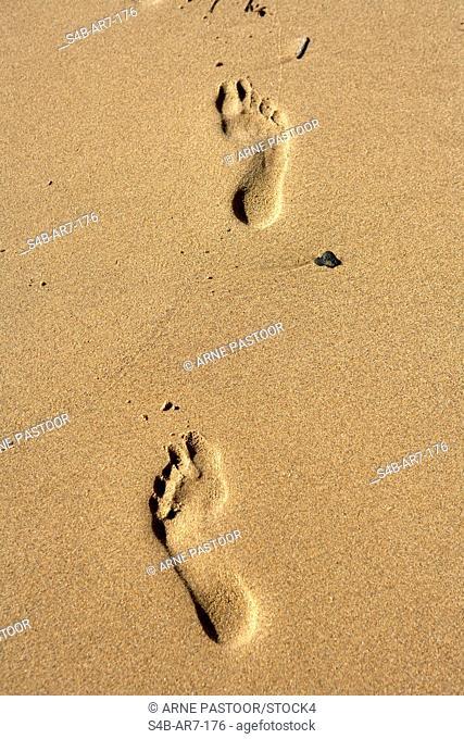 Footprints in sand, Praia de Odeceixe, Algarve, Portugal