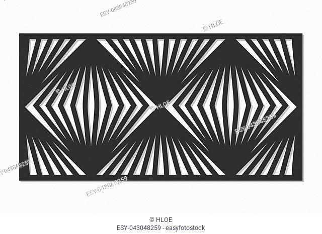 Template for cutting. Square line, geometric pattern. Laser cut. ratio 1:2. Vector illustration
