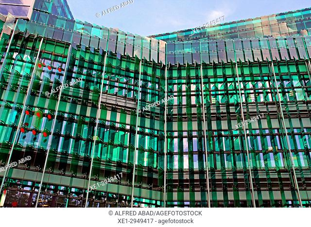 Green crystals in singular office building, 22 @ district, Barcelona, Catalonia, Spain