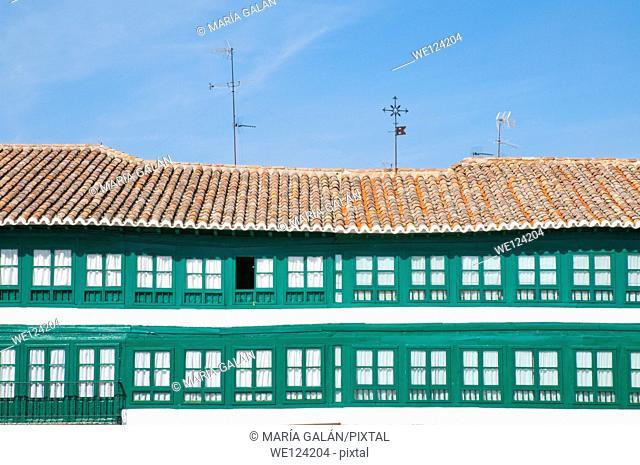 Facade of house. Main Square, Almagro, Ciudad Real province, Castilla La Mancha, Spain