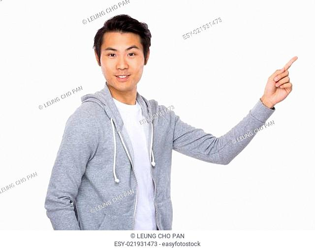 Asian man with finger show up