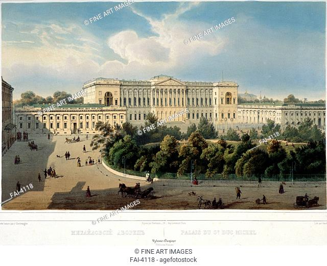 The Old Michael Palace in Saint Petersburg. Charlemagne, Jules (19th century). Colour lithograph. Classicism. 1850s. A. Pushkin Memorial Museum, St