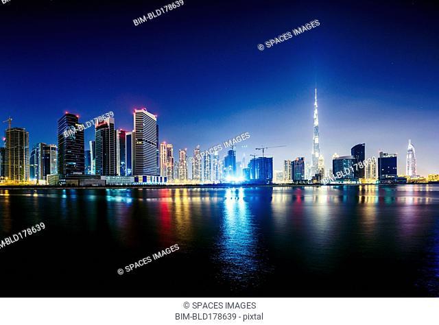 Dubai city skyline and waterfront, United Arab Emirates