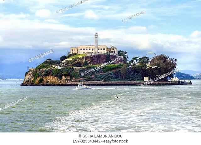 The Alcatraz Penitentiary, now a museum, in San Francisco, California, United States of America. A view of the island, the lighthouse
