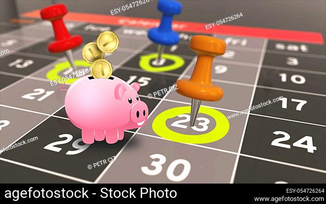 Everyday financial budget. A calendar with a savings pig