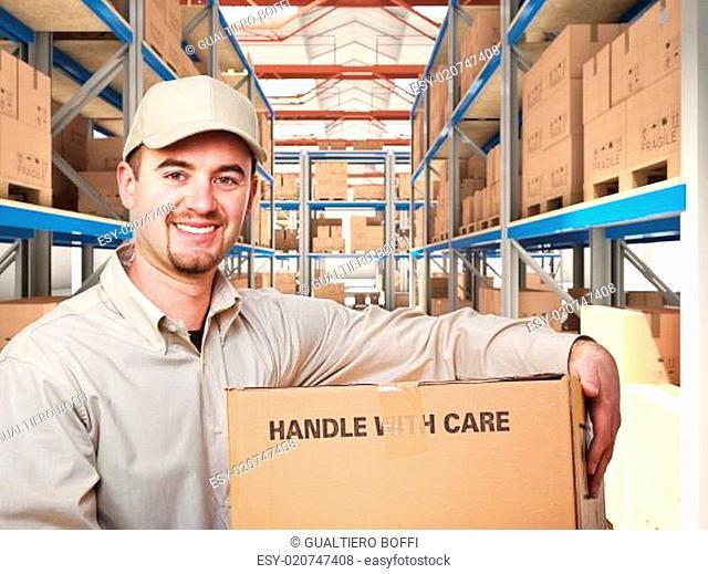 man in warehouse