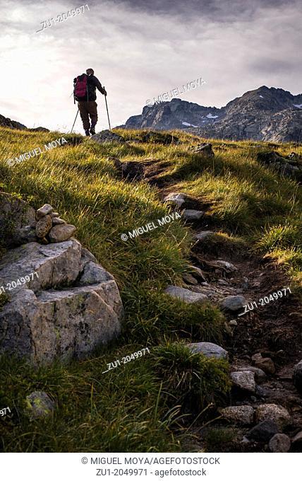 A man walking in the mountain