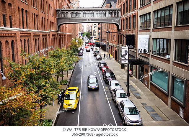 USA, New York, New York City, Lower Manhattan, The High Line park, elevated view of Meatpacking District street