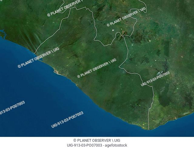 Satellite view of Liberia (with country boundaries). This image was compiled from data acquired by Landsat satellites