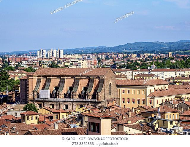 Cityscape of the Old Town, elevated view, Bologna, Emilia-Romagna, Italy