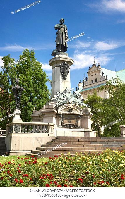Monument of Adam Mickiewicz, Warsaw, Poland, Europe