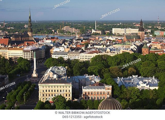 Latvia, Riga, elevated view of Old Riga, Vecriga, morning