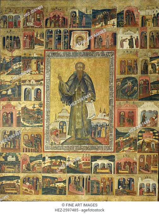 Saint Cyril of White Lake with Scenes from His Life, 17th century. Found in the collection of the State Open-air Museum Kirillo-Belozersky Monastery