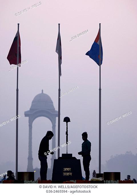 People paying homage at Amar Jawan Jyoti, India Gate, New Delhi, India