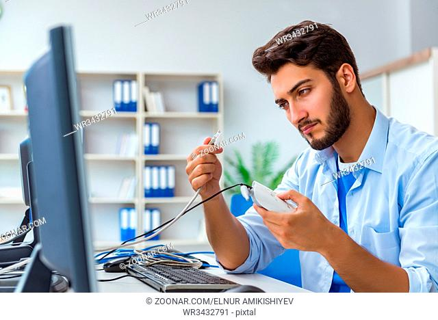 Frustrated young man due to weak internet reception
