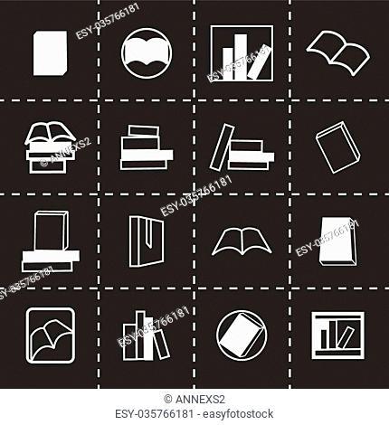 Vector books icon set on black background