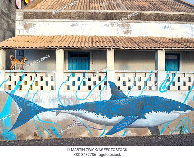 Shark, mural on old house. Town Ponta do Sol, Island Santo Antao, Cape Verde in the equatorial atlantic. April