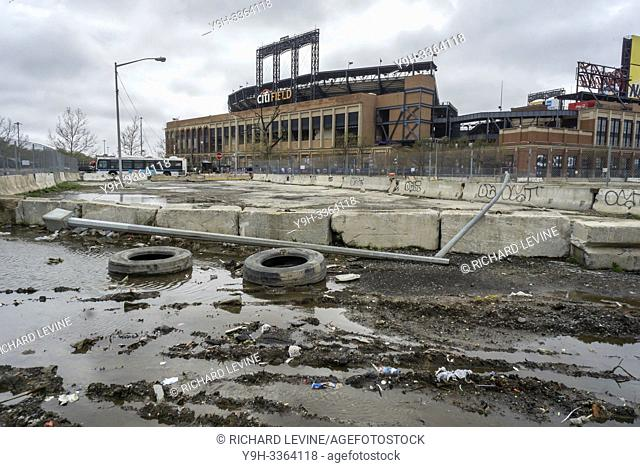 In the shadow of CitiField the automobile repair shops of Willets Point in the borough of Queens in New York are seen on Saturday, April 20, 2019