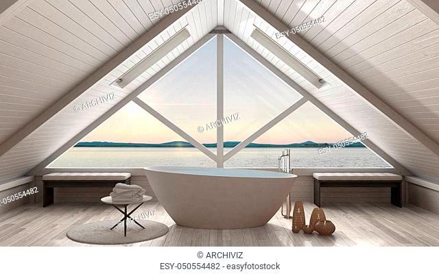 Classic mezzanine loft with big window and sea panorama, bathroom, summer sunset or sunrise, minimalist scandinavian interior design