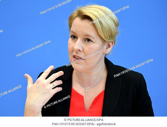 15 October 2019, Berlin: Franziska Giffey (SPD), Federal Minister for Family Affairs, Senior Citizens, Women and Youth, will speak at the presentation of...