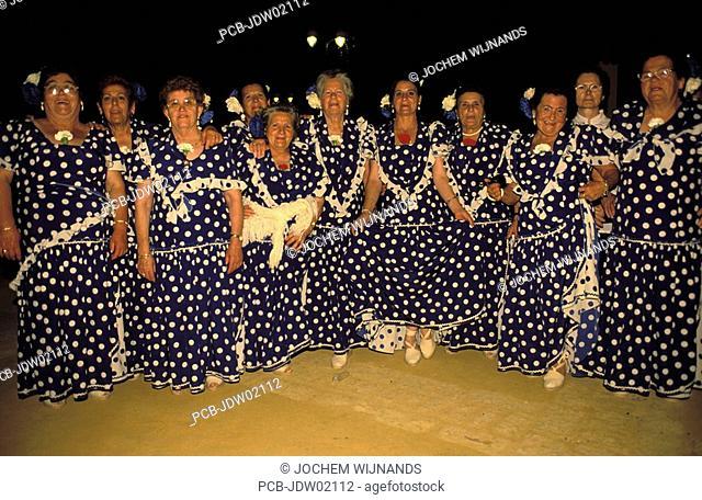 Jerez de la Frontera, a group of elderly women at the Feria del caballo