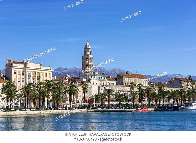 Split city skyline domniated by Cathedral Bell Tower, Croatia