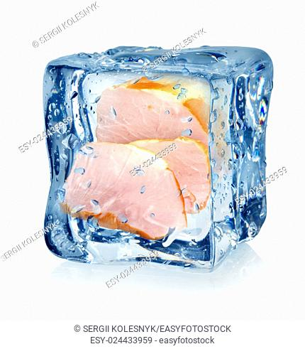 Ice cube and bacon isolated on a white background