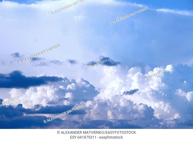 beautiful white clouds on blue sky background. heavenly panorama