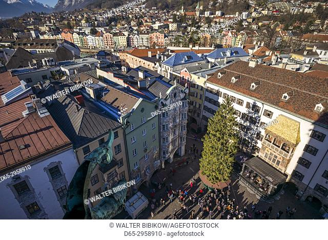 Austria, Tyrol, Innsbruck, elevated view of the Golden Roof, Goldenes Dachl, Christmastime