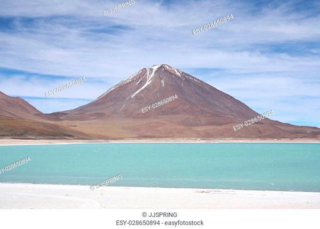 Beautiful volcano landscape and mountain lake
