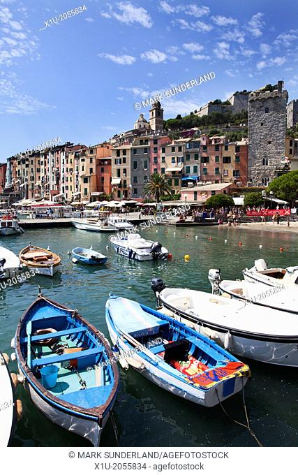 Rowing Boats in the Harbour at Porto Venere Liguria Italy