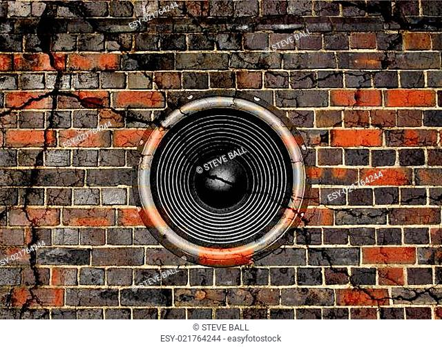 Speaker on a cracked brick wall background