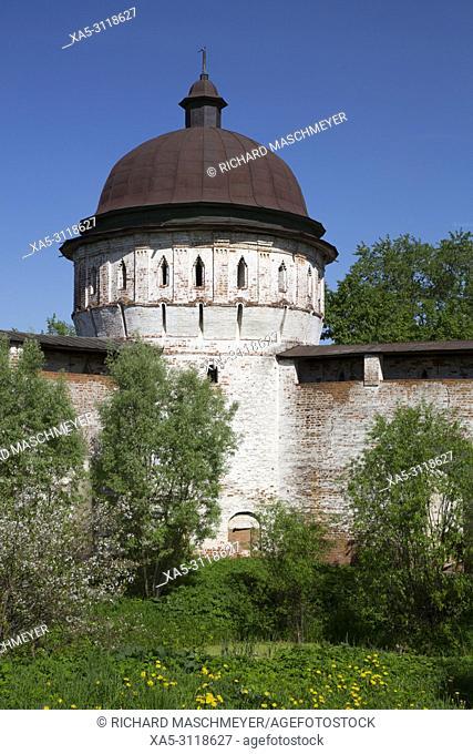 Tower and Walls, Boris and Gleb Monastery, Borisoglebsky, Golden Ring, Yaroslavl Oblast, Russia