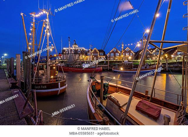 Festive christmas mood in the harbour of Neuharlingersiel, Eastern Frisia