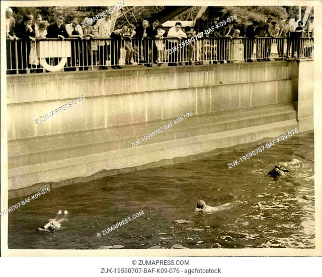 Jul. 07, 1959 - Demonstration Of New Style Lifesaving Jackets In London: A demonstration was held at the Royal Festival Hall this afternoon of new 'Marksway...