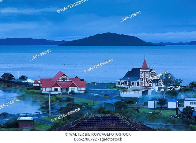 New Zealand, North Island, Rotorua, Ohinemutu, Maori village, St. Faith's Anglican Church, elevated view, dawn