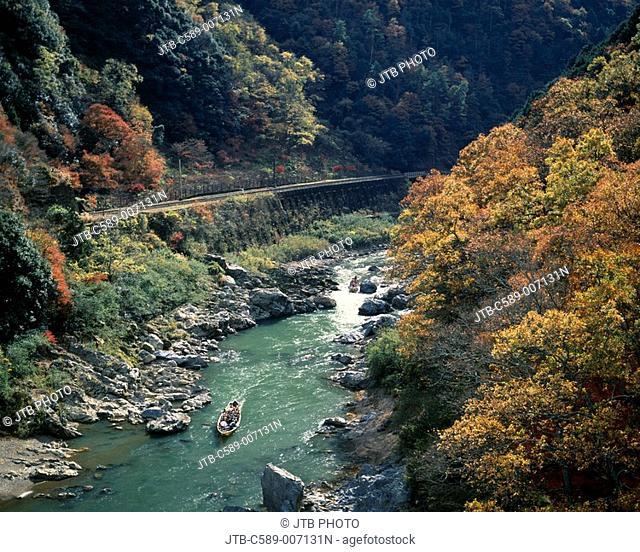 Hozu-gawa descent Kyoto Kyoto Japan Mountain Tree Green River Ship Rock Spray Red leaves